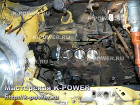 Daewoo Matiz 0.8 л - блок цилиндров в моторном отсеке
